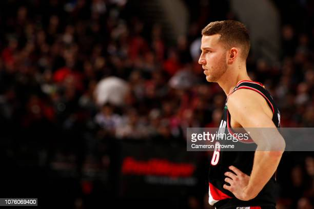 Nik Stauskas of the Portland Trail Blazers looks on during the game against the Philadelphia 76ers on December 30 2018 at the Moda Center Arena in...