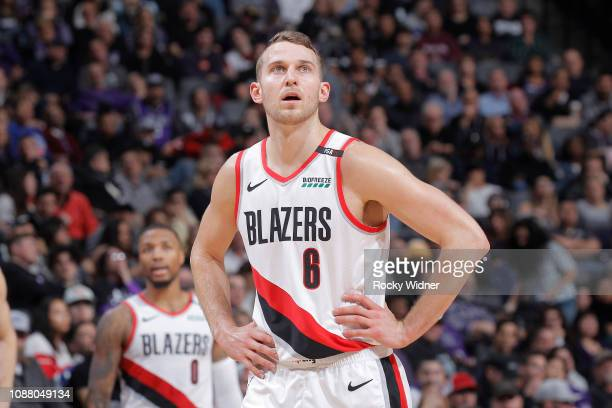 Nik Stauskas of the Portland Trail Blazers looks on during the game against the Sacramento Kings on January 14 2019 at Golden 1 Center in Sacramento...
