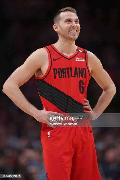 Nik Stauskas of the Portland Trail Blazers plays the Denver Nuggets at the Pepsi Center on January 13 2019 in Denver Colorado NOTE TO USER User...