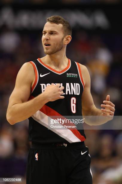 Nik Stauskas of the Portland Trail Blazers reacts during the NBA preseason game against the Phoenix Suns at Talking Stick Resort Arena on October 5...