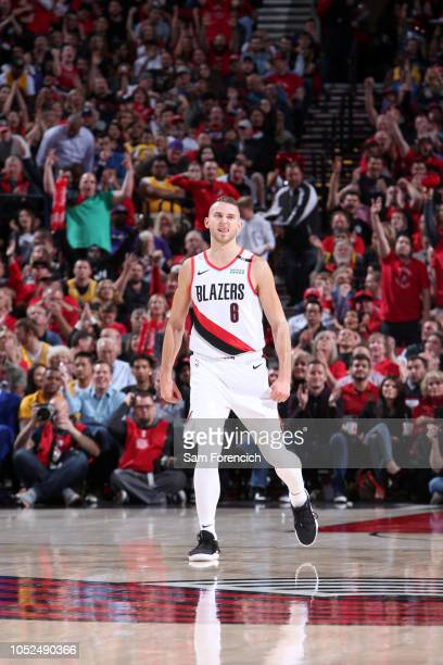 Nik Stauskas of the Portland Trail Blazers reacts to a play during the game against the Los Angeles Lakers on October 18 2018 at the Moda Center in...