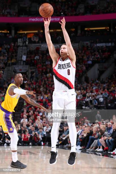 Nik Stauskas of the Portland Trail Blazers shoots a three point basket against the Los Angeles Lakers on October 18 2018 at the Moda Center in...