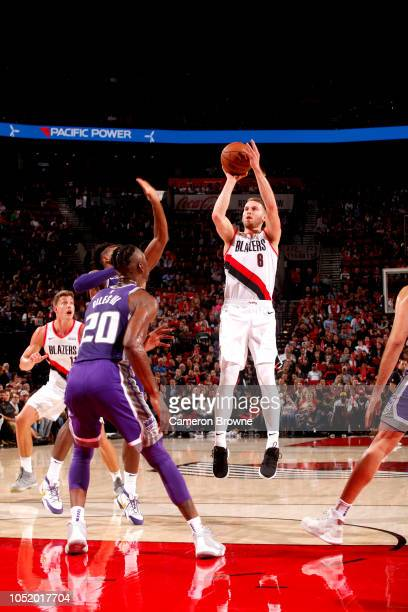 Nik Stauskas of the Portland Trail Blazers shoots the ball against the Sacramento Kings during a preseaon game on October 12 2018 at the Moda Center...