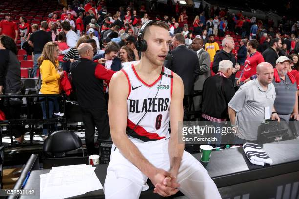 Nik Stauskas of the Portland Trail Blazers speaks to the media after the game against the Los Angeles Lakers on October 18 2018 at the Moda Center in...
