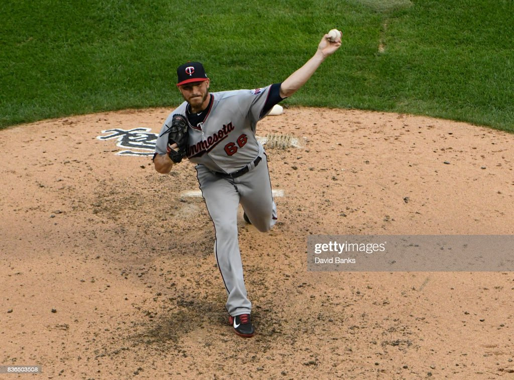 Nik Turley #66 of the Minnesota Twins pitches against the Chicago White Sox during the fourth inning in game one of a doubleheader on August 21, 2017 at Guaranteed Rate Field in Chicago, Illinois.
