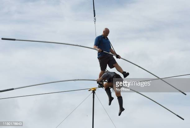 Nik Wallenda and his sister Lijana Wallenda practice on the high wire at Nathan Benderson Park on June 15 2019 in Sarasota Florida This is the...