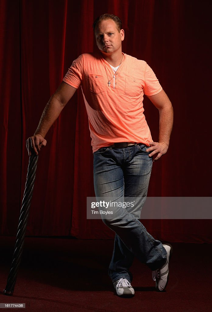 Nik Wallenda poses for a photograph with a piece of the high wire he used to walk over Niagara Falls on at Circus Sarasota on February 15, 2013 in Sarasota, Florida. Wallenda is planning to walk on a high wire over the Grand Canyon this summer.