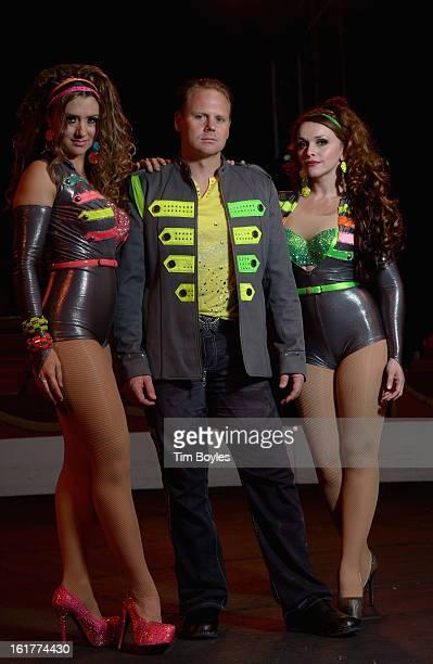 Nik Wallenda poses for a photograph with his sister Lijana Wallenda and his wife Erendira Wallenda at Circus Sarasota on February 15 2013 in Sarasota...
