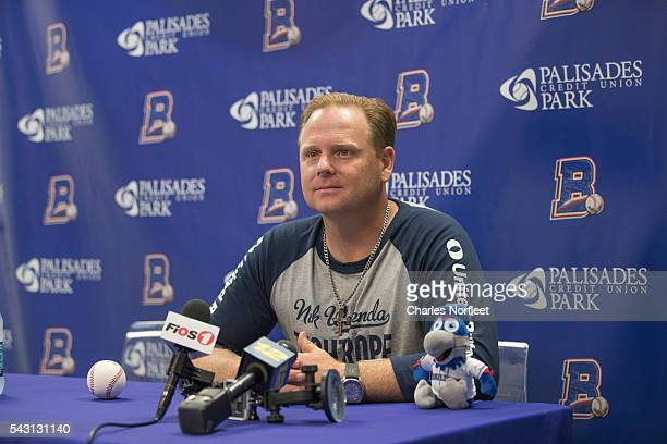 Nik Wallenda speaks with the media after walking a high-wire and throwing out the first pitch125 feet above above the ground at Palisades Credit...