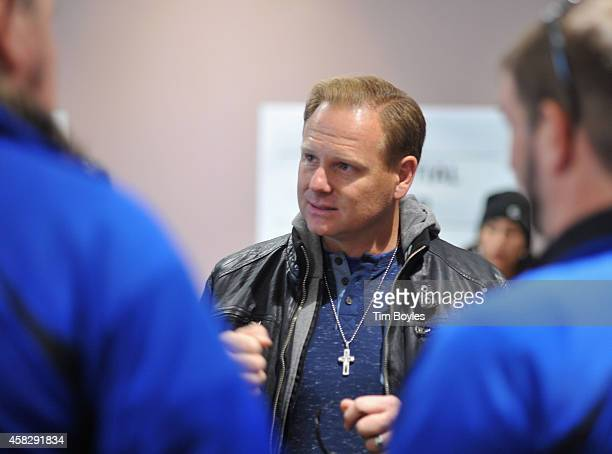 Nik Wallenda talks with his crew in the final hours before his record-breaking high wire walk along the skyline on November 2, 2014 in Chicago,...