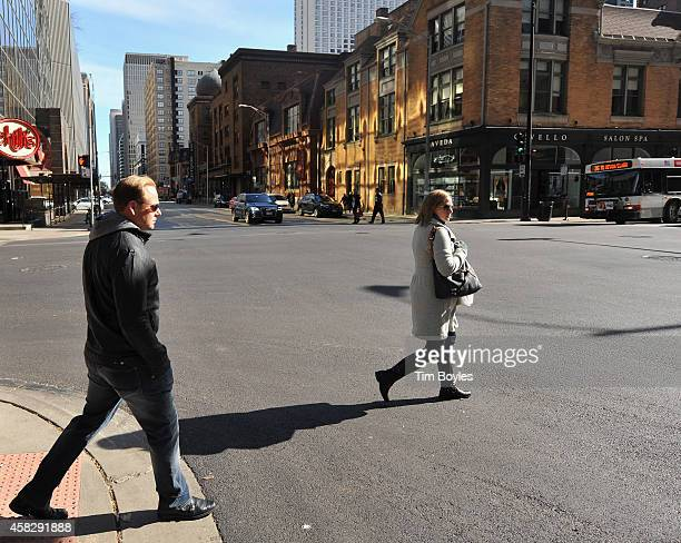 Nik Wallenda walks to the production office in the hours before his record-breaking high wire walk along the skyline on November 2, 2014 in Chicago,...