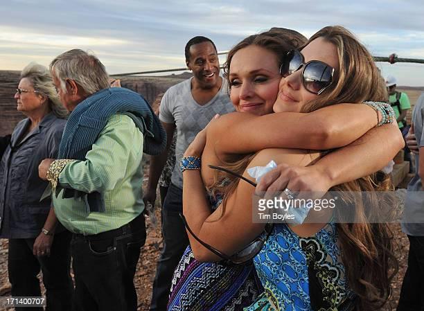 Nik Wallenda's wife Erendira Wallenda hugs Lijana Hernandez Nik's sister following Nik Wallenda's historic walk at The Grand Canyon on June 23 2013...
