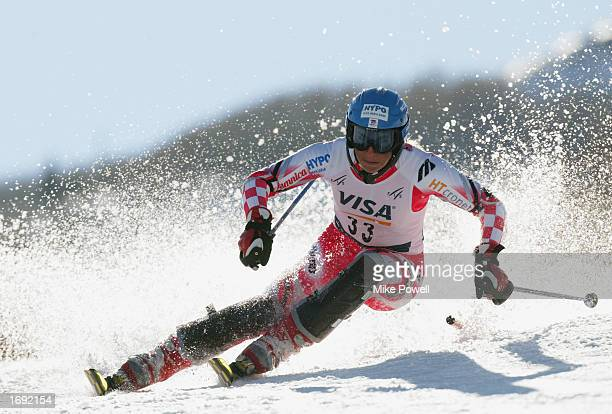 Nika Fleiss of Croatia competes during the second run of the women's FIS Ski World Cup Slalom at Park City Ski Resort on November 23 2002 in Park...