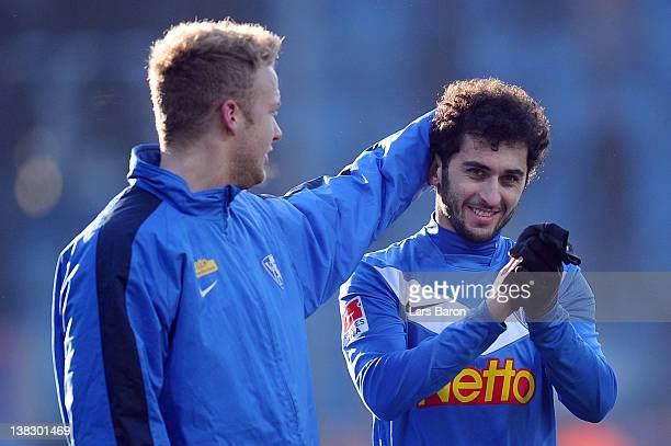 Nika Gelashvili of Bochum, who scored the winning goal, celebrates after the Second Bundesliga match between VfL Bochum and Hansa Rostock at...
