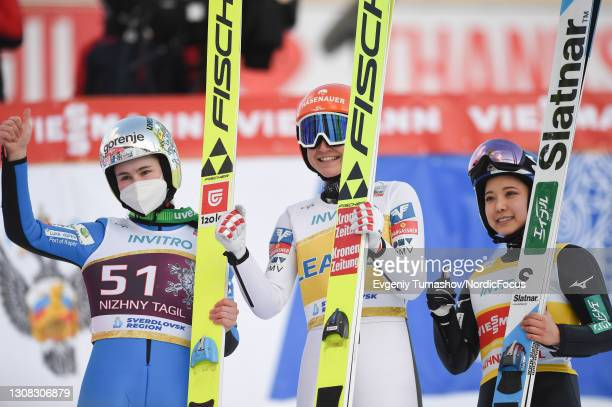 Nika Kriznar of Slovakia , Marita Kramer of Austria , Sara Takanashi of Japan competes during the Women HS 97 at the FIS Ski Jumping World Cup Women...