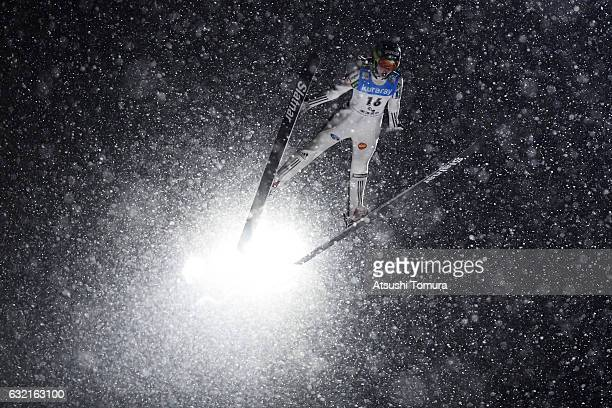 Nika Kriznar of Slovenia competes in the Ladies' HS106 normal hill individual during the FIS Ski Jumping World Cup Ladies 2017 In Zao at Zao Jump...