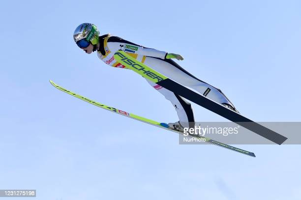 Nika Kriznar of Slovenia in action during the FIS Ski Jumping World Cup - 10th World Cup Competition, Women Normal Hill Individual, in Rasov,...