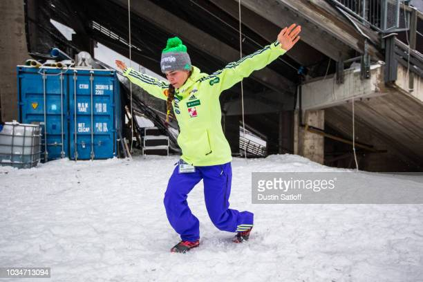 Nika Kriznar of Slovenia prepares before the start of the Women's Ski Jumping HS100 qualification rounds during the FIS Nordic World Ski...