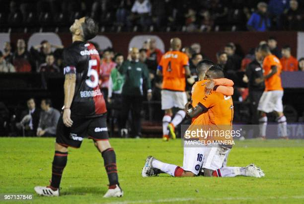 Nikao of Brazilian Paranaense celebrates with a teammate after scoring against Argentinian Newell's during a Copa Sudamericana 2018 football match at...