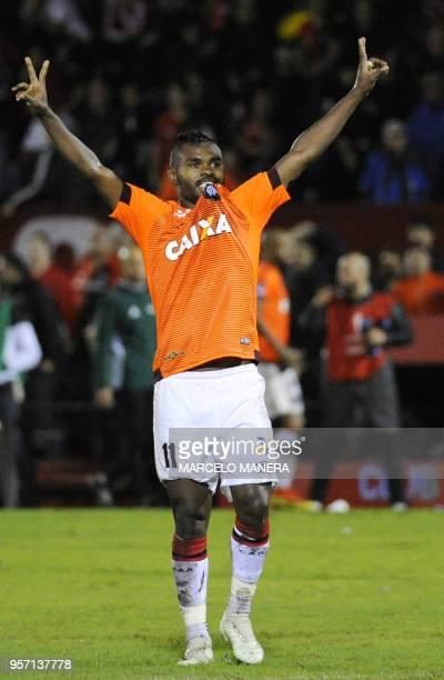 Nikao of Brazil's Atletico Paranaense celebrates after scoring against Argentina's Newell's Old Boys during their Copa Sudamericana 2018 football...