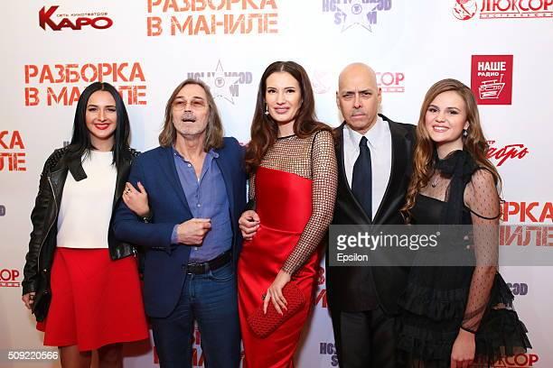 Nikas Safronov Natalya Gubina Robert Madrid and Polina Butorina attend 'Showdown in Manila' premiere in October cinema hall on February 9 2016 in...