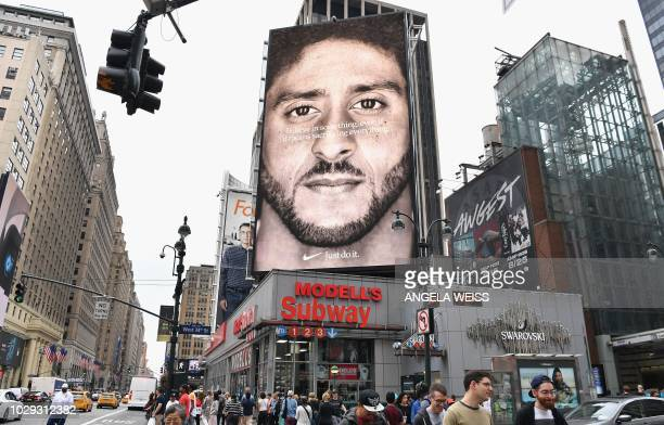 Nike Ad featuring American football quarterback Colin Kaepernick is on diplay September 8 2018 in New York City Nike's new ad campaign featuring...