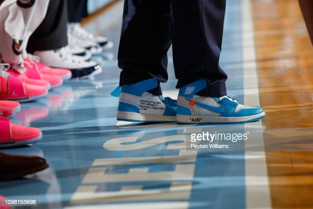 Nike Air Jordan 1 Retro High OG x OffWhite worn by Head coach Roy Williams of the North Carolina Tar Heels during a Coaches vs Cancer game against...