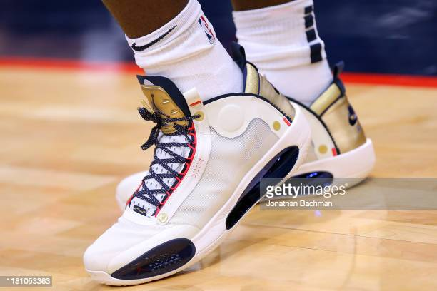 Nike Air Jordan shoes are seen worn by Zion Williamson of the New Orleans Pelicans during a preseason game against the Utah Jazz at the Smoothie King...