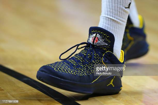 Nike Air Jordan shoes worn by Charles Matthews of the Michigan Wolverines during a game against the Rutgers Scarlet Knights at Rutgers Athletic...
