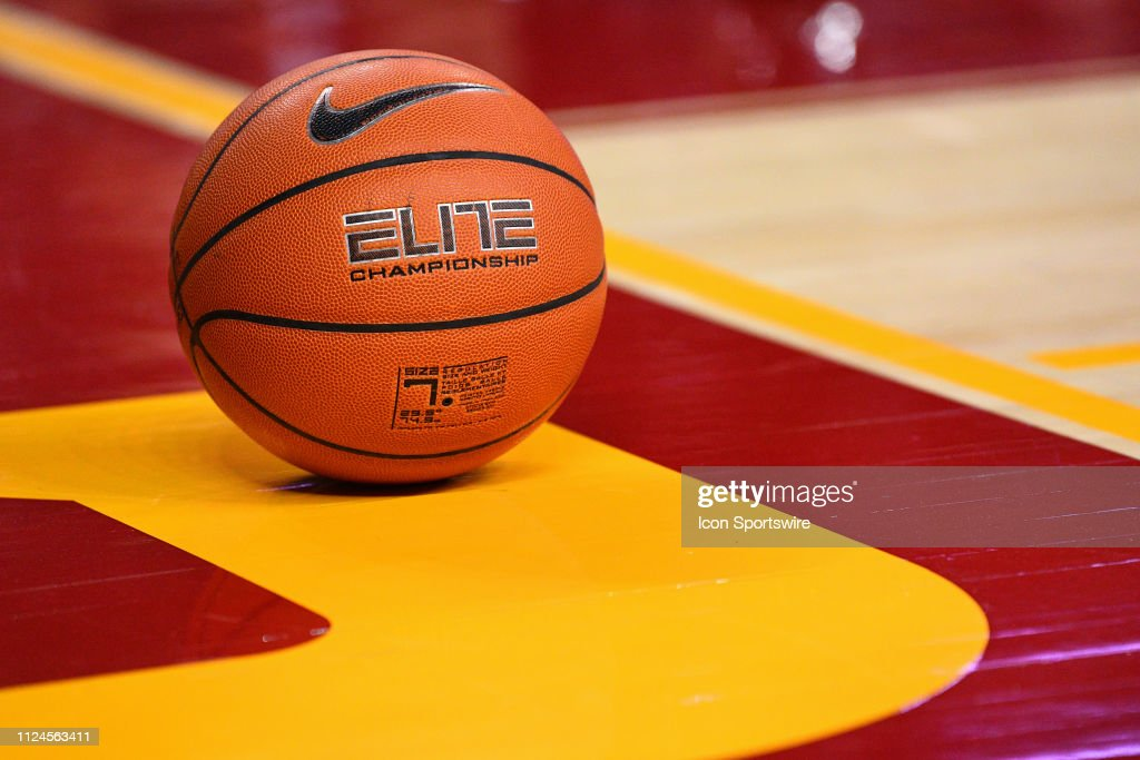 ba1d0db071a A Nike basketball sits on the court during a college basketball game ...