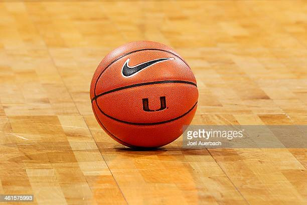 Nike basketball with the Miami Hurricanes 'U' logo on the court prior to the game against the Florida State Seminoles on January 9 2014 at the...