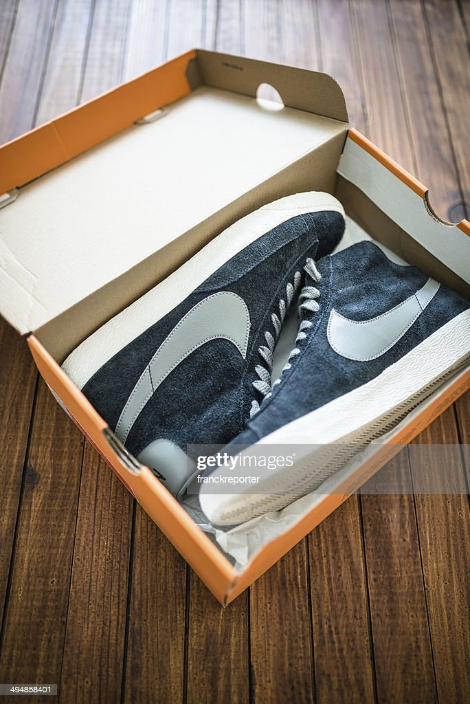 7183bd9c Nike Blazer Mid Vintage Close Up On Their Box Package Stock Photo ...
