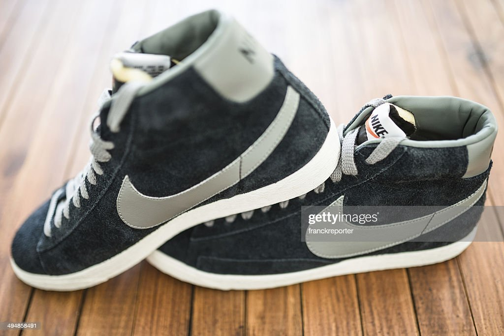 11704b38 Nike Blazer Mid Vintage Close Up Stock Photo | Getty Images