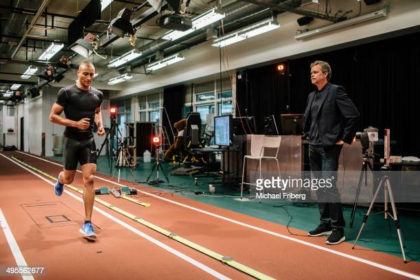 Nike CEO Mark Parker and Olympic gold medalist Ashton Eaton are photographed in the Nike Sports Research Lab for Wall Street Jornal Magazine on...