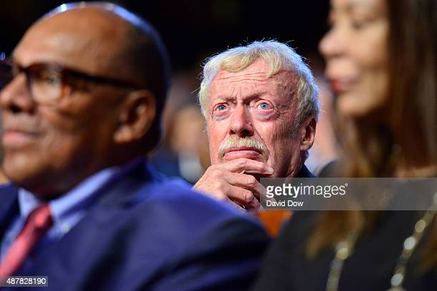 Nike CEO Phil Knight looks on during the 2015 Basketball Hall of Fame Enshrinement Ceremony on September 11 2015 at the Naismith Basketball Hall of...