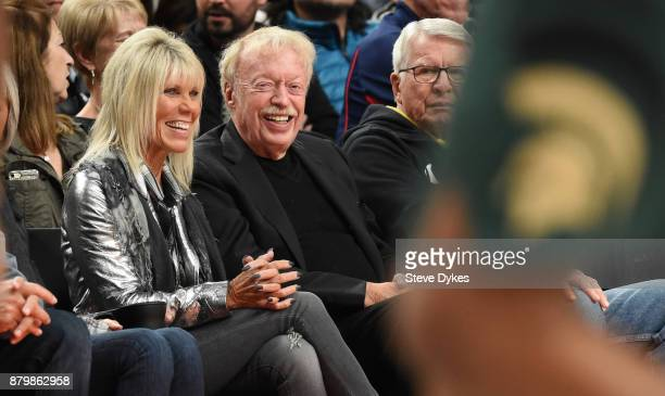 Nike cofounder Phil Knight watches the action in the first half of the game between the Michigan State Spartans and the North Carolina Tar Heels...