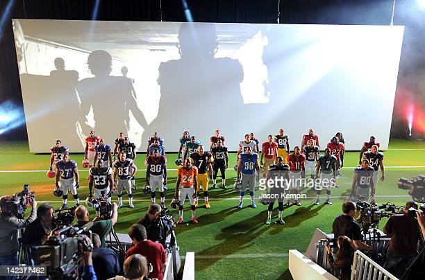 Nike debuts new NFL uniforms on April 3 2012 in New York City NFL players AFC Baltimore Ravens Ray Rice / Cincinnati Bengals Andy Dalton / Cleveland...