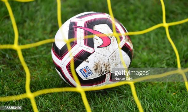 Nike FA football is seen during Sunday league football between Linchfield Lions and Boldmere Wwnderers on November 01, 2020 in Lichfield, England.