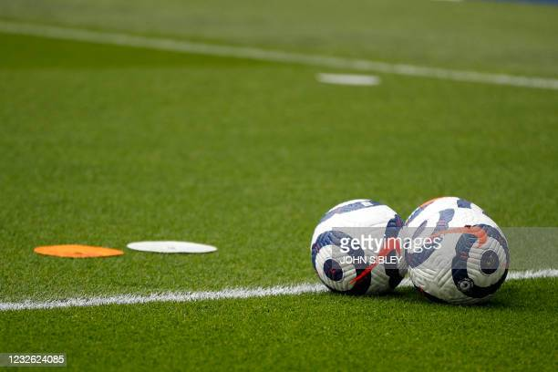 Nike Flight footballs on the pitch ahead of the English Premier League football match between Brighton and Hove Albion and Leeds United at the...
