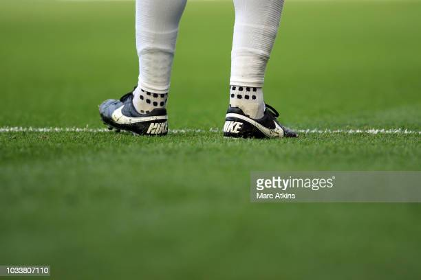 Nike football boots and Trusox worn by David Luiz of Chelsea during the Premier League match between Chelsea FC and Cardiff City at Stamford Bridge...