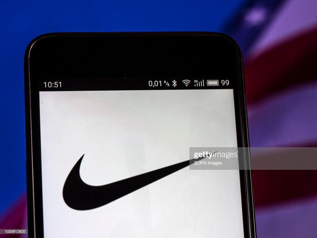 nike footwear manufacturing company logo seen displayed on a