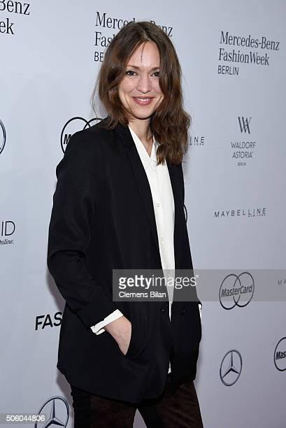 Nike Fuhrmann attends the Dimitri show during the Mercedes-Benz Fashion Week Berlin Autumn/Winter 2016 at Brandenburg Gate on January 21, 2016 in...