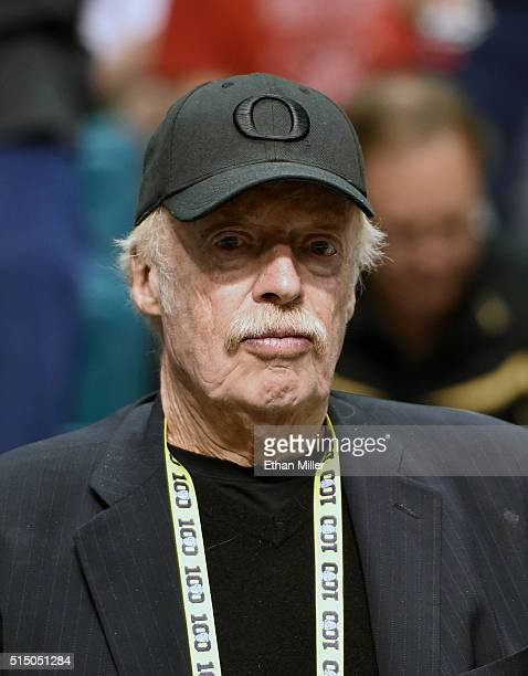 Nike Inc CoFounder and Chairman Phil Knight attends a semifinal game of the Pac12 Basketball Tournament between the Arizona Wildcats and the Oregon...