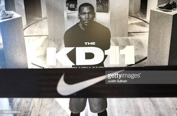 Nike Kevin Durant ad is displayed at a Nike store on September 14 2018 in San Francisco California A week after Nike released a 'Just Do It' ad...