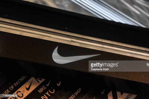 Nike logo is seen at the Nike flagship store on 5th Ave on December 20 2019 in New York City Revenue in the North American market which accounts for...