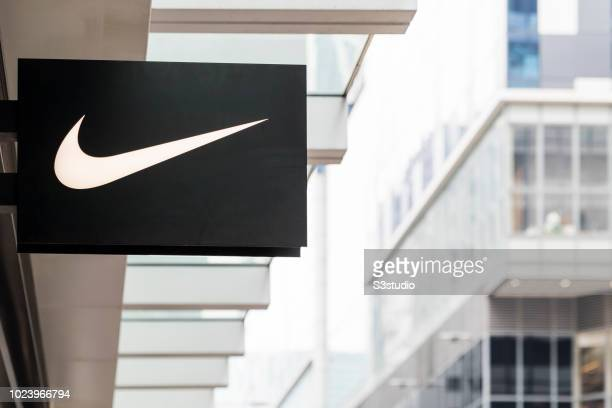 Nike logo is seen outside of their retail store on August 23 2018 in Hong Kong Hong Kong