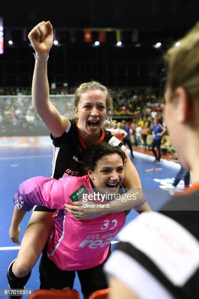 Nike Lorenz and Rosa Kruger of Germany celebrate after the Women Gold Medal Indoor Hockey World Cup Berlin Final Day match between Germany and...