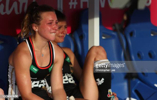 Nike Lorenz of Germany and Selin Oruz of Germany look dejected after they lose during the Quarter Final game between Germany and Spain of the FIH...