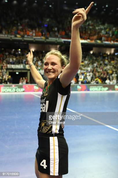 Nike Lorenz of Germany celebrate after the Women Gold Medal Indoor Hockey World Cup Berlin Final Day match between Germany and Netherlands on...