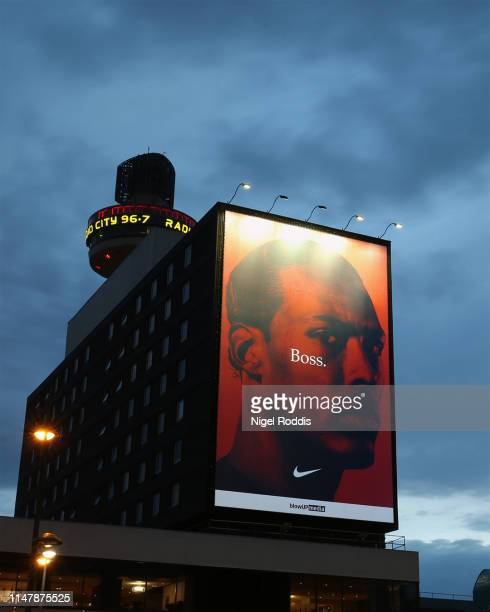 Nike marks Liverpool's UEFA Champions League win with a tribute to Dutch defender Virgil van Dijk at Liverpool Lime Street on June 3, 2019 in...